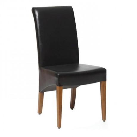 Siyah Deri Döşemeli Cafe Sandalyesi - msad06
