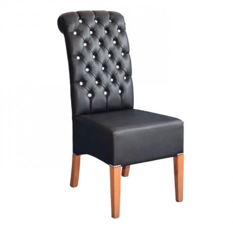 Siyah Deri Döşemeli Kapitoneli Modern Sandalye - msad09