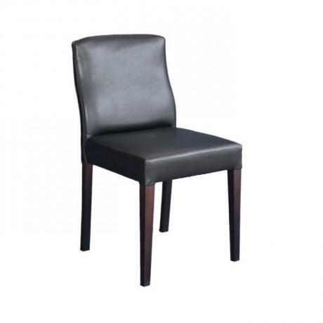 Siyah Deri Döşemeli Salon Sandalyesi - msad17