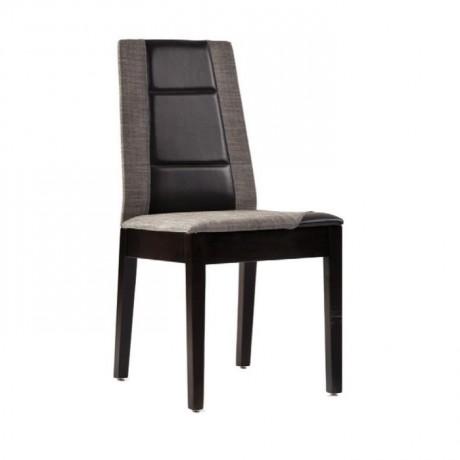 Siyah Deri Gri Kumaş Döşemeli Boyalı Modern Sandalye - msag26