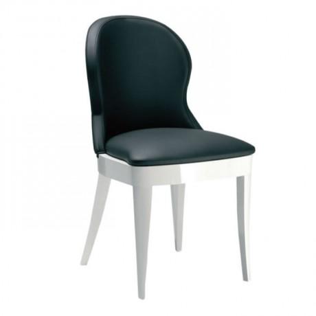 Siyah Deril Döşemeli Beyaz Lake Boyalı Sandalye - msaf28