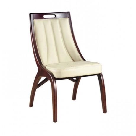 Torna Ayaklı Beyaz Deri Dikişli Modern Sandalye - msag126