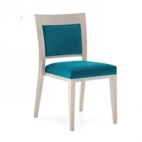 Turkuaz Kumaşlı Beyaz Lake Boyalı Modern Sandalye - msag113