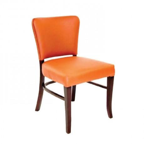 Turuncu Deri Döşemeli Modern Restoran Sandalyesi - msad24