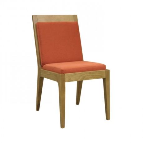 Turuncu Minderli Meşe Ahşaplı Modern Sandalye - msag68