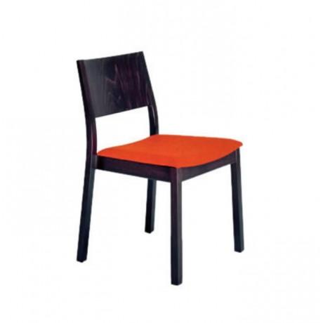 Turuncu Minderli Venge Boyalı Modern Cafe Sandalyesi - msag12