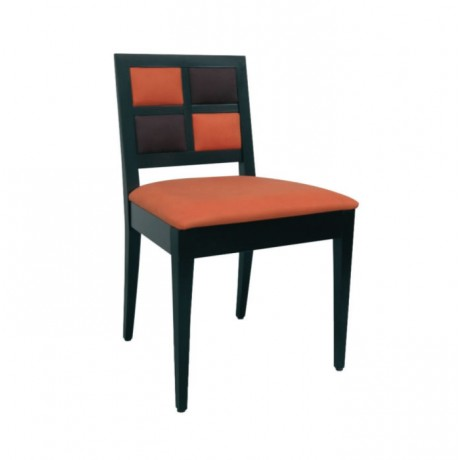 Turuncu Siyah Deri Döşemeli Modern Cafe Sandalyesi - msag59