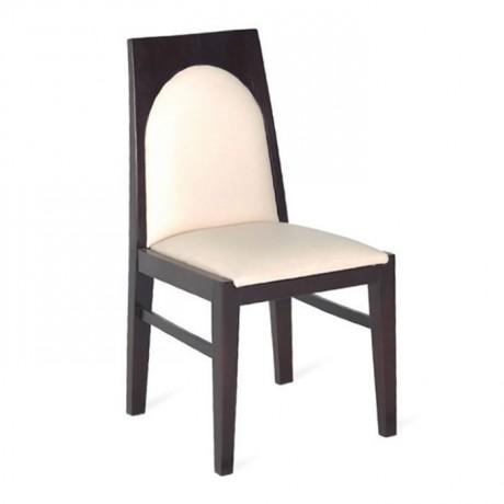Venge Boyalı Beyaz Deri Döşemeli Ahşap Otel Sandalye - msaf20