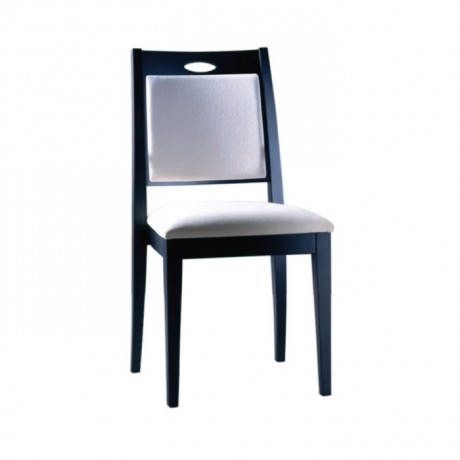 Venge Boyalı Beyaz Derili Otel Restoranı Sandalyesi - msag87