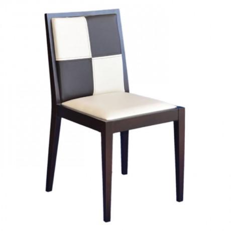 Venge Boyalı Krem Kahve Derili Sandalye - msaf15