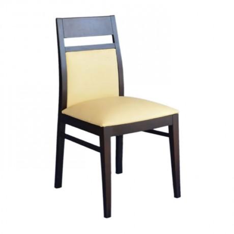 Wenge Boyalı Krem Derili Kayın Sandalye - msaf11