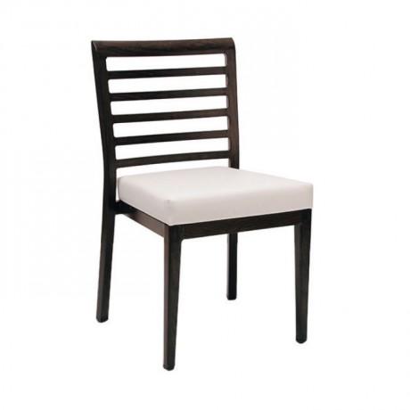 Yatay Çıtalı Siyah Boyalı Beyaz Döşemeli Sandalye - msag119