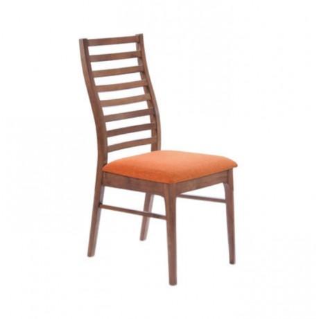 Yatay Çıtalı Turuncu Kumaşlı Modern Cafe Sandalyesi - msag141