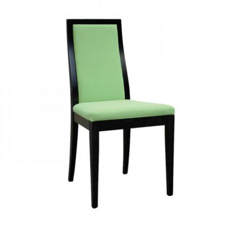 Yeşil Kumaş Döşemeli Parlak Siyah Lake Boyalı Modern Restoran Sandalyesi - msag52