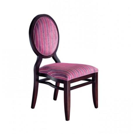 Yuvarlak Sırtlı Çizgili Kumaşlı Venge Boyalı Sandalye - msag48