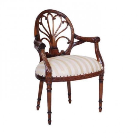 Ahşap Oymalı Ahşap Renkli Klasik Kollu Sandalye - ksak123