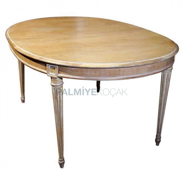 Cord Piping Rustic Wood Oval Table