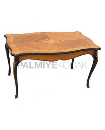 Marquetry Rectangular Wood Rustic Table