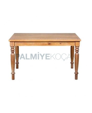 Rustic Table with Oak Coated Turning Leg