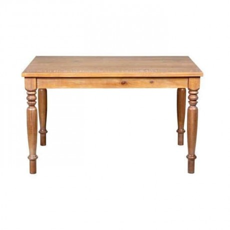 Rustic Table with Oak Coated Turning Leg - rdm21