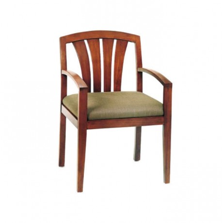 Rustic Hotel Chair with Wooden Decorative Arm - rsak24