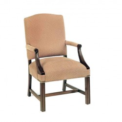 Beige Fabric Upholstered Sleeved Cafe Armchair