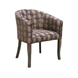 Cafe Armchair  with Patterned Gray Fabric