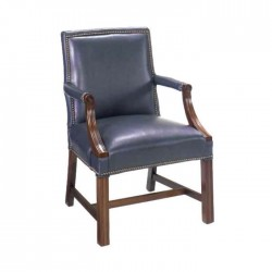 Brown Leather Wooden Tumbled Arm Chair