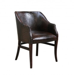Brown Leather Upholstered Cafe Armchair