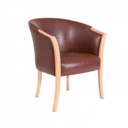 Brown Leather Furnished Restaurant Armchair
