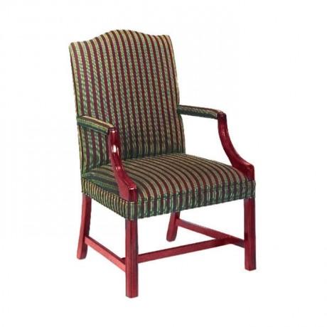 Maun Boyalı Çizgili Kumaşlı Kollu Sandalye - rsak08