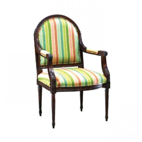 Dark Walnut Armchair with Colorful Stripe Fabric - rsak15