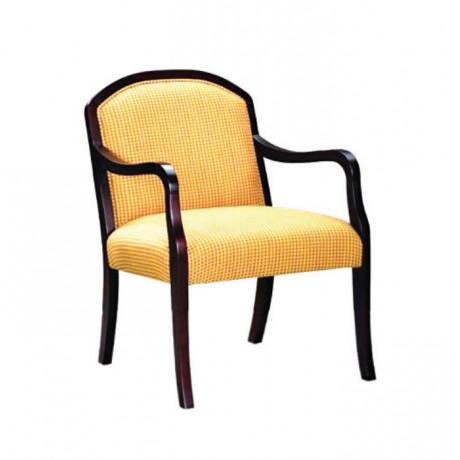 Sarı Kumaşlı Koyu Eskitme Kollu Sandalye - rsak22