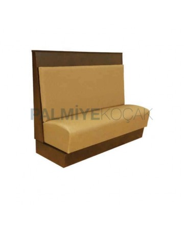 Beige Leather Upholstered Wooden Booths