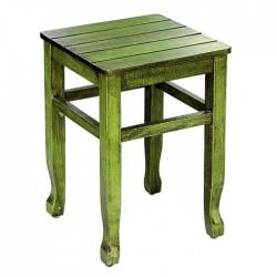 Green Patina Painted Wood Stool