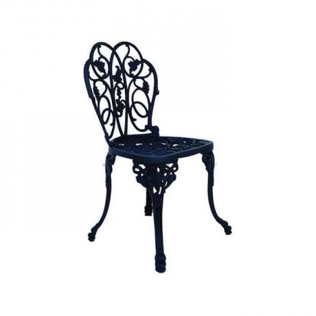 Oymalı Desenli Kolsuz Döküm Siyah Sandalye - dks9020