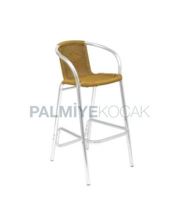 Alüminyum Hasırlı Bahçe Bar Sandalyesi
