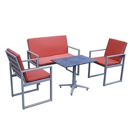 Kırmızı İthal Kumaş Minderli Paslanmaz Alüminyum Oturma Grubu Mini Set Oturma Grubu - erp1