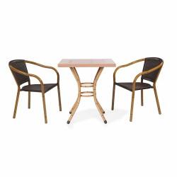 70x70 Iroko Table Bamboo Painted Aluminum Leg Table