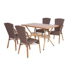 Double Aluminum Bamboo Painted Table Legs with Iroko Table