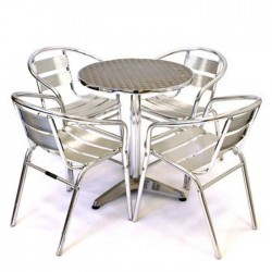 Round Table Aluminum Chair Table Set