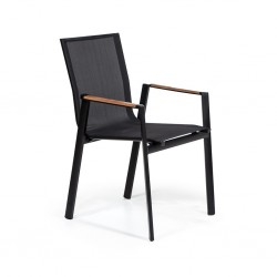 Black Mesh Aluminum Injection Chair with Iroko Arm
