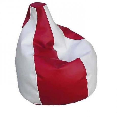 Kırmızı Beyaz Deri Armut Minder - art8580