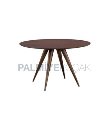 Walnut Color Table with Round Table Top Turned Leg