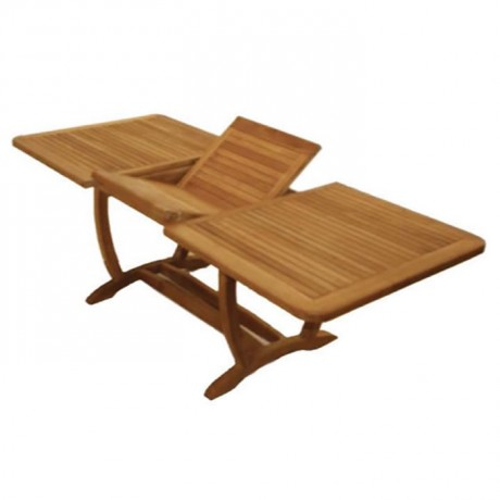 Rectangular Self Storing Leaves Iroko Garden Table - btk-d235