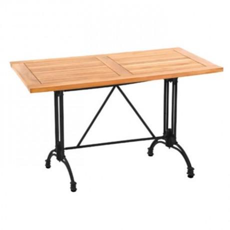 Döküm Ayaklı İroko Tablalı Cafe masası - ikm1304
