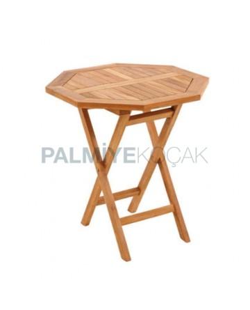 Iroko Table with Foldable Leg