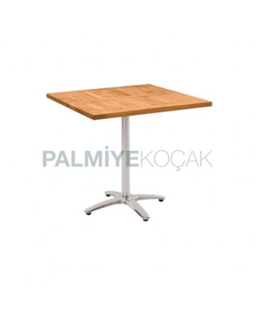 Iroko Cafe Table with Metal Legs