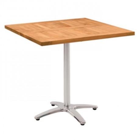 Iroko Cafe Table with Metal Legs - ikm1250