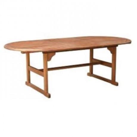 Oval İroko Bahçe Masası - ikm1305